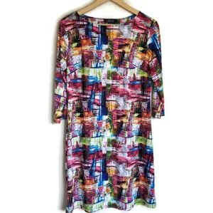 lbisse colorful sheath dress with sleeves size M